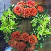 Green Orchid and Orange Rose Wreath